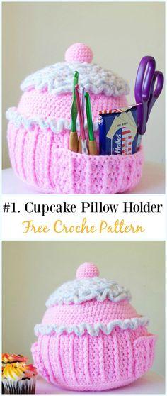 Crochet Cupcake Pillow Holder Free Pattern-#Crochet #HookCase & Holders Free Patterns