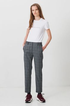 Causal, yet refined Grey check suiting trousers. Rubis is slightly cropped, and features press creases, belt loops and side pockets. Available at Wood Wood. Trousers, Wood Wood, Suits, December, Fashion, Trouser Pants, Moda, Outfits, Fashion Styles