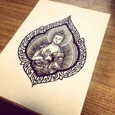 Buddah tattoo - I like the outline/frame