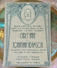 Art Deco wedding invitations deposit to begin par sweetinvitationco, $100,00