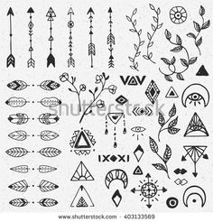 Hand drawn collection of tribal, floral and ethnic decorative elements. Hand sketched elements, strokes, arrows, branches, flowers and geometric symbols. Vector illustration isolated on background