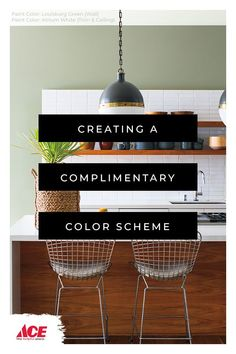 Benjamin Moore paint colors for the kitchen that create a complimentary color scheme for a classic and timeless look. Trending Paint Colors, Best Paint Colors, Wall Paint Colors, Interior Paint Colors, Interior Design, Modern Color Schemes, Modern Colors, Painting Studio, House Painting