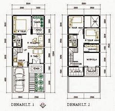 contoh denah desain rumah 2 lantai type 200 home pinterest