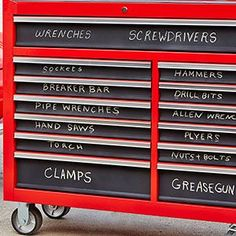 Label a Metal Toolbox With Chalkboard Spray Paint – Garage Organization DIY Garage Shed, Garage Tools, Diy Garage, Garage Workshop, Garage Ideas, Workshop Organization, Garage Organization, Garage Storage, Workshop Ideas