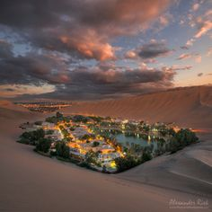 Huacachina - The oasis of Huacachina (Peru) just after sunset