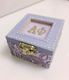 Alpha Phi Sorority Handmade jewelry/sorority pin box