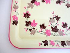 Hey, I found this really awesome Etsy listing at https://www.etsy.com/listing/218116805/vintage-oak-leaf-metal-tray-one-pink