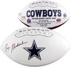 73bd4d22a Roger Staubach Autographed Dallas Cowboys White Panel Logo Football This  item is authenticated by Beckett