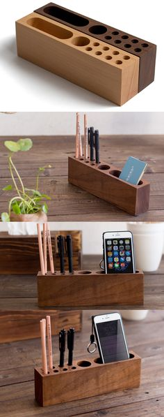 Bamboo Wooden  iPhone Smart Phone Stand Holder Dock Pen Pencil Holder Stand Business Card Display Stand Holder Office Desk Supplies Stationary Organizer,Creative DIY Desk Organizer Ideas to Make Your Desk Cute!