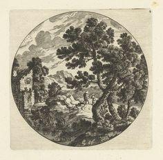 Cornelis Danckerts (I) | Zuidelijk landschap met bomen en figuren op weg bij vervallen huis in rond kader, Cornelis Danckerts (I), Perelle, 1613 - 1656 |