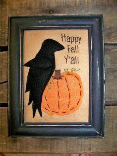 Fall Crow Pumpkin Primitive Stitchery Penny Rug by wvluckygirl Primitive Stitchery, Primitive Patterns, Primitive Fall, Primitive Crafts, Americana Crafts, Fall Halloween, Halloween Crafts, Halloween Decorations, Fall Deco