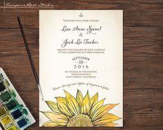 Sunflower Wedding Invitations, Rustic Wedding Invitation, Barn Wedding, Ranch Wedding, Fall Wedding, Watercolor Wedding Invitations
