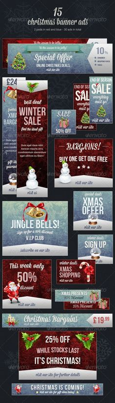 Christmas Web Banner Ads All banners are in psd format and have been organized into easy to edit layers. Experiment with mixing and matching the elements to create your own unique Christmas banner ad.