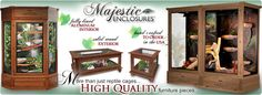 Furniture-style Reptile Cages, Reptile Enlcosures, Wood Reptile Cages, Huge Reptile Enclosures
