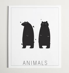 Handmade Illustration of Bears for the Modern Kids room or Nursery. Animals is an illustration of 2 mischievous brother bears, theyre wild! With a modern twist on the traditional, Animals is the perfect addition to your childs modern room or nursery! Woodland Creatures Nursery, Woodland Animals, Wall Art Prints, Poster Prints, Posters, N Animals, Brother Bear, Pop Design, Blog Voyage