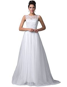 Grace Karin® Women's Pure White Lace Tulle Prom Ball Gowns Evening Dresses CL6108-3 (4)