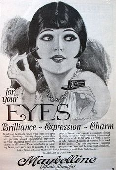 Love this 1920s Maybelline ad! Back then, ladies applied mascara from a compact using a small brush, like those she is holding. Love the flapper hairdo and jewelry! Find your own vintage jewelry at #MyClassicJewelry on #Etsy: https://www.etsy.com/shop/MyClassicJewelry #vintage #makeup #ad #MyClassicJewelry