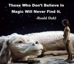 A still of Falkor the wish dragon for the movie Neverending Story, with quote from Roald Dahl
