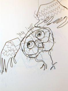 """hibou"" au fil du fer Do. Stemer LEO+CO."