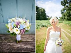 blue, purple, peach, green and yellow spring bouquet