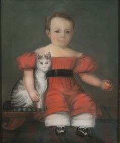 Attributed to William M. S. Doyle (1769-1828), c. 1825. Portrait of a Boy (Probably Ellis Norris)with a Cat and a Peach. Pastel on paper, 31.5 x 25.5 in. With original gilt frame 37.5 x 31.5 in.