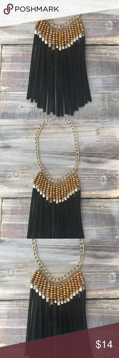 """Beaded Bohemian fringe tassel necklace Super cute!! 16"""" necklAce with a 7"""" drop. Black and brown. Never worn Versona Jewelry Necklaces"""