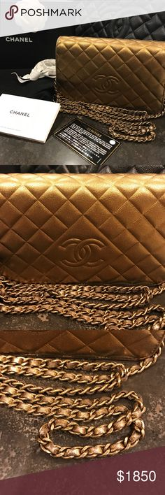 Chanel Gold Lamb Skin Wallet On Chain WOC 100%Auth Lovely gold color, CC logo, some slight  wear on corners and back. purchased in Paris. Offer your price CHANEL Bags Crossbody Bags