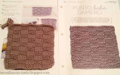 Cuadrado nº 22 de mi manta: PUNTO BOBO DAMERO  #tricotfacilycreativo #punto #knitting #aprendiendoahacerpunto #squares #blanquet #teconlimonycanela #puntobobodamero