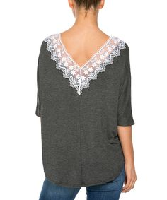 Open Gates Charcoal Lace-Trim Dolman Top by Open Gates #zulily #zulilyfinds