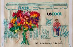 """Portada Bordada para LeCool Barcelona by Señorita Lylo. """"Caminar por las Ramblas y comprarme un colorido ramo de flores para alegrar mi hogar… Es uno de mis placeres. ¡Y al bordarlo hasta puedo sentir el perfume de las flores!"""""""