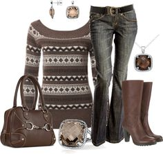 """Brown Jacquard Sweater"" by my-pretend-closet ❤ liked on Polyvore"