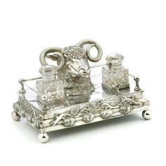 victorian era inkwell sets | Victorian silver plated desk set, circa 1880 with a well cast…