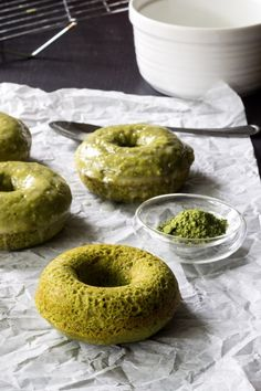 Baked Matcha Donuts | These easy donuts are covered in a ginger glaze for a great morning wake-up!