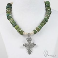 by Mininga Designs | www.miningadesigns.com | Saba | vintage - ancient - trade bead - necklace - white - green - silver - ethiopian cross - ...
