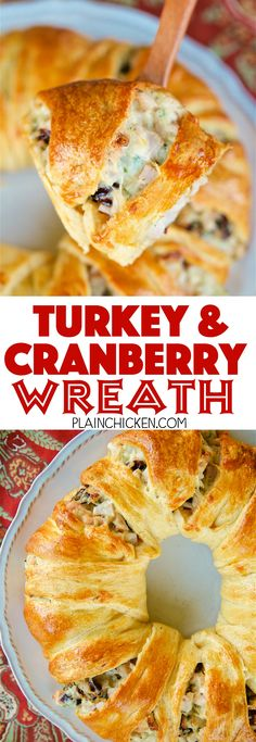 Turkey and Cranberry Wreath - great way to use up leftover turkey. Crescent rolls filled with cooked turkey, mayonnaise, celery, dijon mustard, dried cranberries, swiss cheese and pecans. This is SO good! Can make filling ahead of time and assemble and bake later. Great for parties, brunch, lunch, easy weeknight dinner and tailgating! #sponsored #pinkrelief