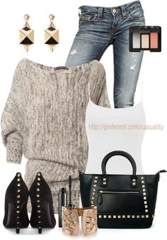 """Studded Heels & Tote"" by casuality on Polyvore - if the studs were silver or pewter"