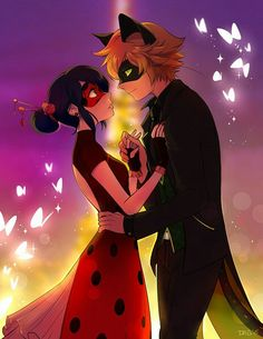 Ladybug and Chat Noir. Found on zerochan.com