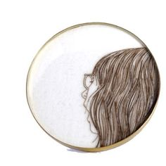 Melanie Bilenker, Line work created with artists hair. brooch
