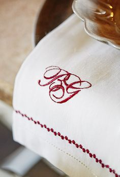 Decorated napkin with monogram!