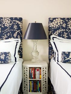 Concept idea for guest room - upholstered head boards and small table or chest in between
