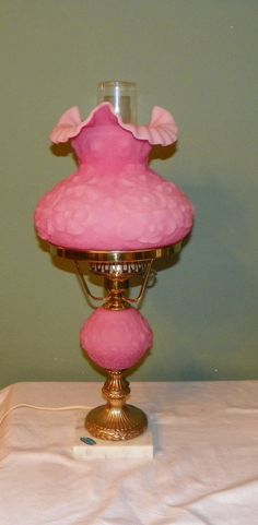 Vintage Fenton STUDENT LAMP Poppy Pink Satin Glass Desk Table Light brass.  I have this model but in blue.