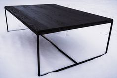 Black coffee table with metal legs Black Coffee Tables, Black Side Table, White Oak, Solid Wood, Legs, Interior Design, Metal, Furniture, Home Decor