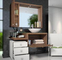 Os gabinetes são os nossos grandes aliados quando o assunto é organizar e encantar. Eles dão um toque especial para o banheiro.   #decoração #design #madeiramadeira
