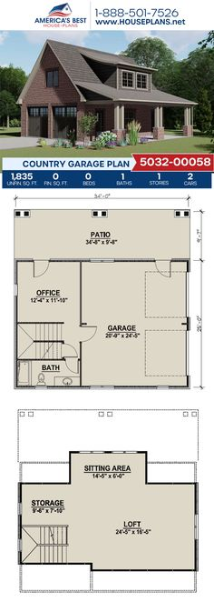 Plan 5032-00058 delivers a Country style garage with 1,835 sq. ft., an office, storage, and a patio. #garage #garageplans #architecture #houseplans #housedesign #homedesign #homedesigns #architecturalplans #newconstruction #floorplans #dreamhome #dreamhouseplans #abhouseplans #besthouseplans #newhome #newhouse #homesweethome #buildingahome #buildahome #residentialplans #residentialhome