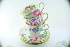 Tuscan Royal Victoria Colclough cup and saucer fine bone china tea party trio