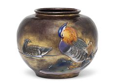 A Cloisonné and Copper Vase.  Mark of the Ando Workshop and signed Ando Zo.  Meiji Period