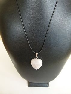 Quartz Heart Necklace  Made from pinkish/white quartz crystal stone. The thread is made from fake leather, about 45cm or 17 inches long.  This jewelry was made for brave sweet style loving women who are not afraid to show who they are.