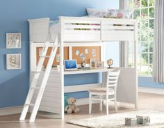 Lacey Classic White Poplar Wood MDF Twin Loft Bed w/Desk ACM-37670