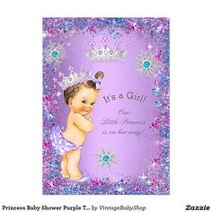 Princess Baby Shower Purple Teal Blue Pink 5x7 Paper Invitation Card