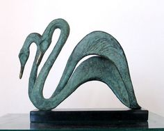 Bronze Birds Sculptures or statue by artist Gill Brown titled: 'Swans (Swimming bronze Semi abstract Pair sculptures/statuettes)'